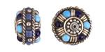 Tibetan White Brass w/ Turquoise & Lapis Dots Rondelle Bead 13x19mm