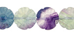 Rainbow Fluorite Carved Flower 15mm