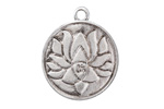Antique Silver (plated) Lotus Ohm Coin Pendant 25x29mm