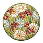 Golem Studio Spring Meadow Carved Ceramic Circle Pendant 45mm