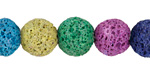 Rainbow Lava Rock Unwaxed Round 12mm