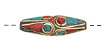 Tibetan Brass Elongated Rice Bead w/ Coral & Turquoise Mosaic Plumes 29-32x10mm