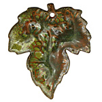 C-Koop Enameled Metal Fern Green Large Maple Leaf 40x46mm