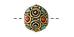 Tibetan Brass w/ Turquoise & Coral Round Bead 16mm