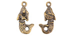 Greek Antique Brass (plated) 2-Sided Mermaid Charm 22mm