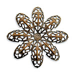 Vintaj Natural Brass Passion Flower Petal Filigree 42mm