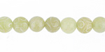 Green Soochow Jade Carved Swirls Round 7.5-8mm