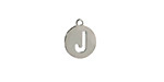 """Stainless Steel Initial Coin Charm """"J"""" 10x12mm"""
