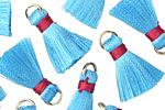 Aqua w/ Hot Pink Binding & Jump Ring Thread Tassel 17mm