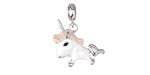 Funky Unicorn Enameled Sterling Silver Charm w/ Bail 17x22mm