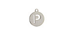 """Stainless Steel Initial Coin Charm """"P"""" 10x12mm"""