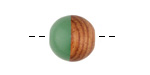 Walnut Wood & Vintage Turquoise Resin Bead 15mm
