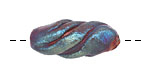 Xaz Raku Rust Blue Tornado Bead 26-30x12-14mm