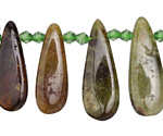 Green Garnet Graduated Flat Teardrop 10-13x22-36mm