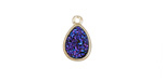 Metallic Indigo Crystal Druzy Teardrop Charm in Gold Finish Bezel 9x14mm