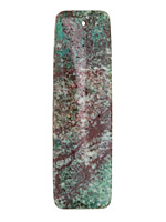 Green Calsilica Jasper Long Thin Rectangle Pendant 18x60mm