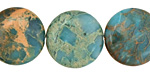 Turquoise Impression Jasper Puff Coin 20mm