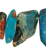 Turquoise Impression Jasper Flat Freeform Drop 8-25x19-44mm