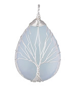 Opalite (glass) Silver Finish Wire-Wrapped Tree of Life Teardrop Pendant 30x50mm