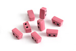 Rose Enamel 2-Hole Tile Thin Rectangle Bead 4x8mm