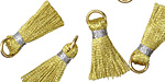 Metallic Gold w/ Silver Binding & Jump Ring Thread Tassel 17mm