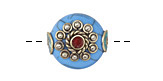 Tibetan Howlite Turquoise & White Brass w/ Coral Center Coin Bead 18-19mm