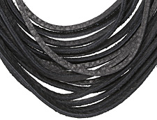 "The Lipstick Ranch Black Shredded Leather Choker 17 1/4"" x 2"""