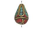 Tibetan Brass Teardrop Bead w/ Turquoise & Coral Drop Mosaic 24x15mm