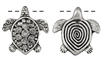 Greek Pewter Double Sided Spiral Turtle Pendant 30x30mm