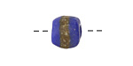 African Powder Glass (Krobo) Royal Blue w/Band Tumbled Round 10-12mm