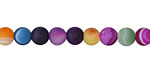 Jewel Tone Mix Line Agate (matte) Round 6mm