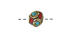 Tibetan Brass Bead w/ Turquoise & Coral Mosaic 11mm