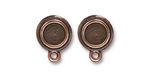 TierraCast Antique Copper (plated) Stepped Bezel Ear Post 12x17mm
