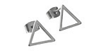 Satin Rhodium (Plated) 12mm Open Triangle Post Earring w/Back