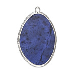 Dumortierite Freeform Thin Slice w/ Silver Finish Bezel Frame Pendant 25x35mm