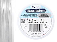 "Beadalon Satin Silver .018"" 49 Strand Wire 10ft."