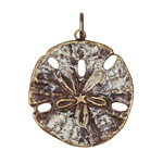 Vintaj Vogue Natural Brass Sand Dollar Charm 16x18mm