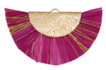 Fuchsia w/ Metallic Gold Fringed Raffia Focal 45x27mm