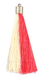 Pink & Cream Thread Tassel w/ Metallic Gold Plastic Tassel Cap 101mm