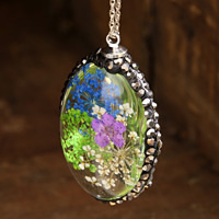 Glass Orb Oval w/ Vintage Mix & Purple Flowers and Pave Crystals 25x50mm