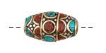 Tibetan Brass w/ Coral & Turquoise Mosaic Rice Bead 25-26x14-15mm