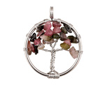 Tourmaline Silver Finish Wire-Wrapped Tree of Life Pendant 28-29x35mm