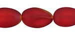 Cherry Red Recycled Glass Oval Nugget 17-22x13-14mm