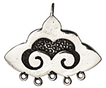 Saki White Bronze Nepali Cloud 1-5 Drop Pendant 47x40mm