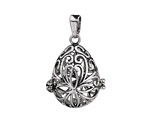 Antique Silver Finish Filigree Teardrop Diffuser Locket 23x36mm