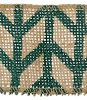 "Green Chevron 2.5"" Burlap Wired Ribbon"