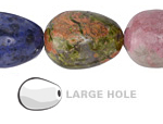 Multi Gemstone (Sodalite, Tiger Eye, Red Jasper, Aventurine) Drop (Large Hole) 25x18mm