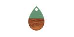 Walnut Wood & Vintage Turquoise Resin Teardrop Focal 11x17mm