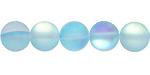 Aqua Fused Glass AB (matte) Round 10mm
