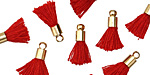 Red w/ Gold (plated) Bead Cap Tiny Thread Tassel 14mm